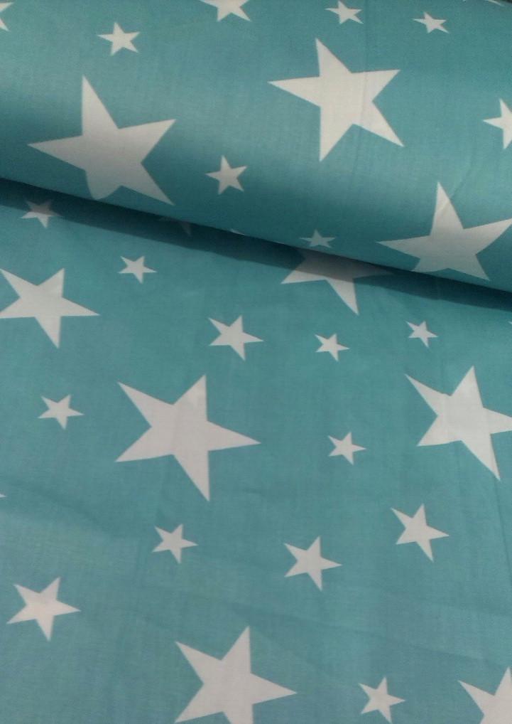 Хлопковая ткань белые звезды разных размеров на бирюзовом (КОРЕЯ) №579