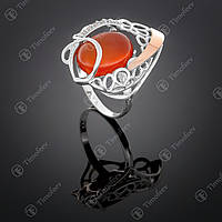 Серебряное кольцо с сердоликом и фианитами. Артикул П-316