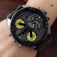 мужские стильные  часы Dz Brave (Дизель) с желтыми циферблатами на металлическом ремешке