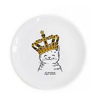 Детская тарелка Котенок в короне 19 см стеклокерамика в подарочной упаковке
