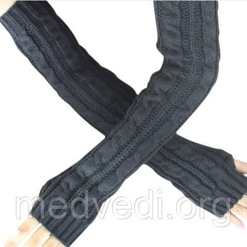 Довгі темно-сірі рукавиці (рукавички без пальців) 50см