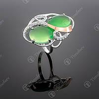 Серебряное кольцо с агатом и фианитами. Артикул П-317