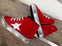 Женские кеды, замшевые, красные / высокие зимние кеды ботинки женские,  натуральная замша, утепленные