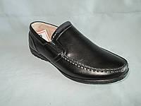 Детские туфли оптом 31-36 р., черные с серой нашивкой-полоской на язычке