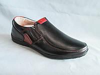 Детские туфли  оптом 31-36 р., черные с коричневыми нашивками