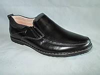 Детские туфли  оптом 31-36 р., черные с серой строчкой и тонкой полоской на язычке