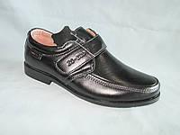 Детские туфли  оптом 31-36 р., черные с липучкой и металлическим шильдиком