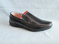 Детские туфли  оптом 31-36 р., черные с оранжевой нашивкой на язычке, без шнурков