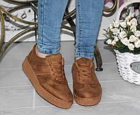 Женские кроссовки криперы, замшевые, горчичные / низкие кроссовки женские, эко кожа, модные