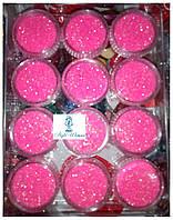 Глитер, песок, блестки, присыпка для декора ногтей, розовый в баночке