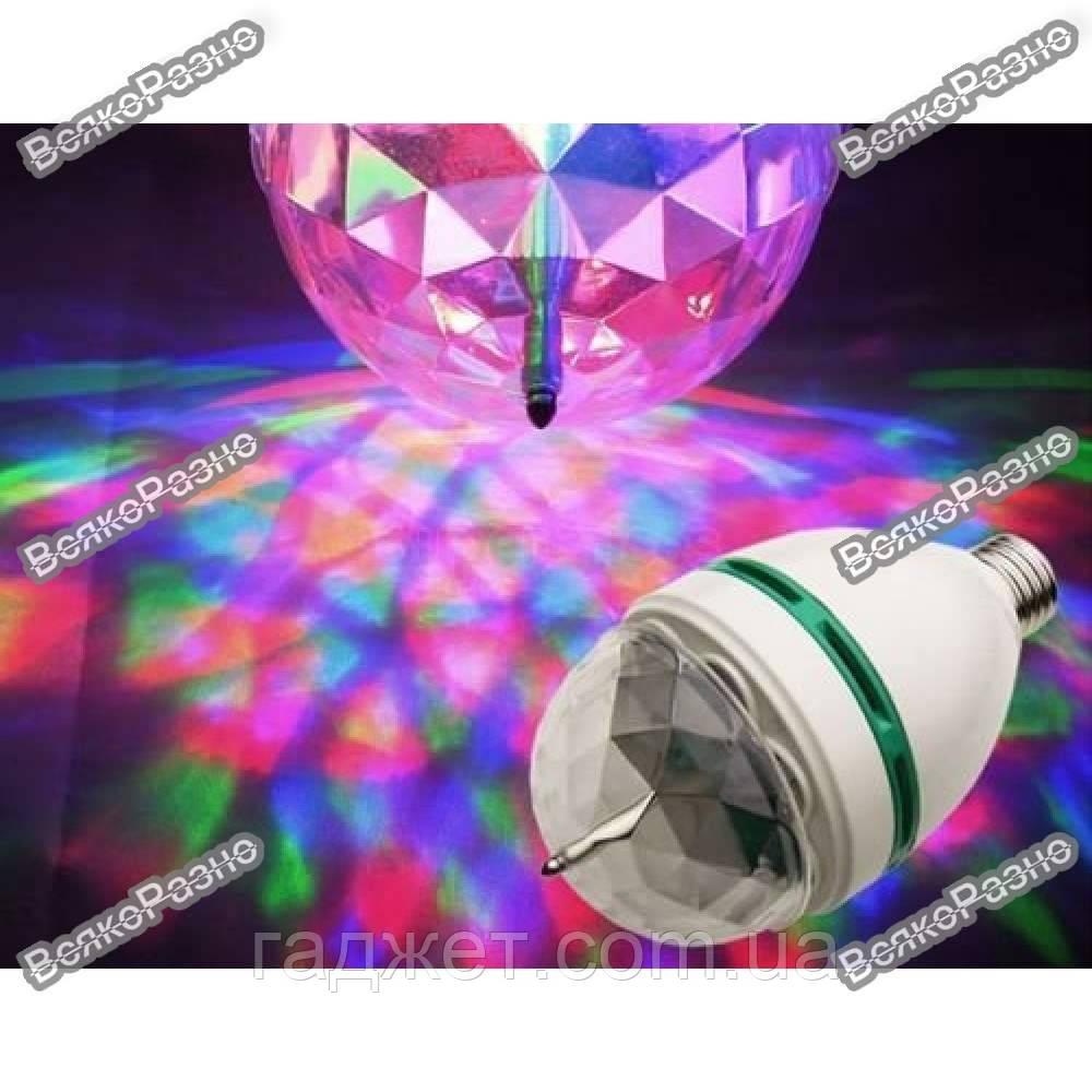Проектор, вращающаяся диско - лампа светодиодная E 27 LED и переходник в розетку.