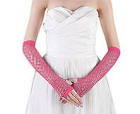 Перчатки сетка без пальцев до локтя розовые