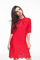 Платье Свободное с перфорацией красное