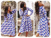 Платье  Расклешенное сердечки синие