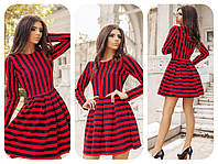 Платье  Юбка складки в полоску красное