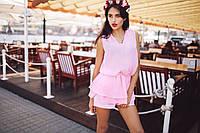 Блузка Двойная баска шифоновая розовая