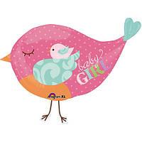 Шар  Птичка розовая,наполненный гелием
