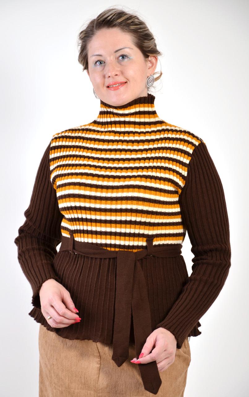 Свитер женский теплый вязаный под горло коричневый с поясом шерсть БЛ 276017-2