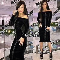 Вечернее облегающее платье из бархата 3 цвета