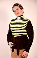 Джемпер женский теплый вязаный под горло коричневый с поясом шерсть БЛ 276017-2