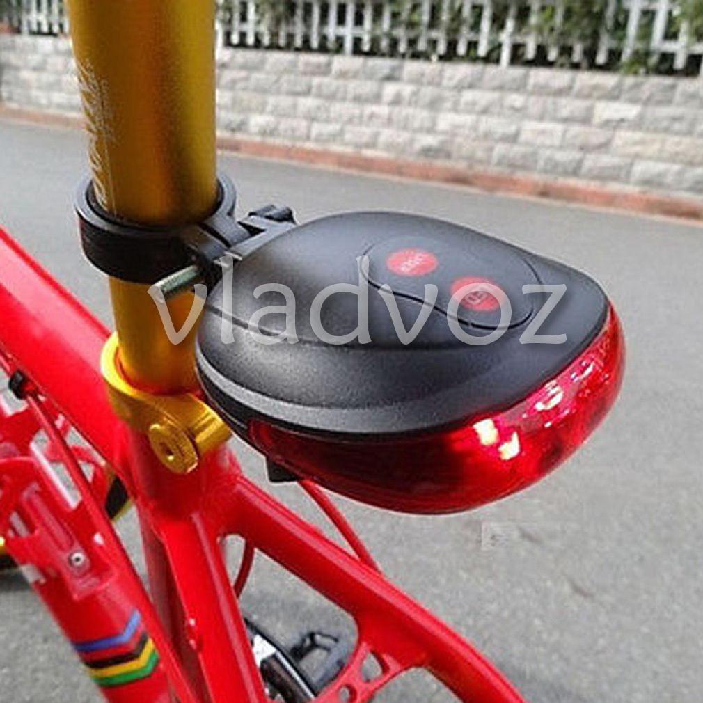 Фонарь на велосипед задний светодиодный фонарик велофара освещение 5 Led + 2 лазера красный
