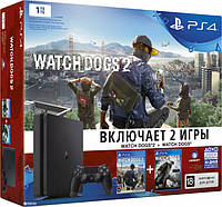 Sony PlayStation 4 Slim 1TB  + Watch Dogs + Watch Dogs 2