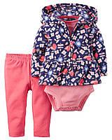Костюм Картерс для девочки 9 мес. Кардиган флис, штанишки, боди Floral printed Carter's (США)