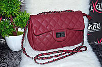 """Оригинальная сумка в стиле """"Шанель"""" бордовая."""