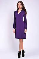 Женское платье с v образным вырезом фиолетовое