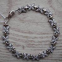 Восхитительный серебряный женский браслет с фианитами, 200мм