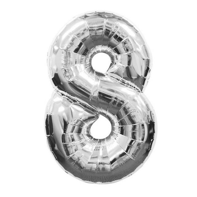 """Шар фольгированный серебряный, цифра """"8"""" (90 см)"""