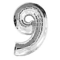 """Шар фольгированный серебряный, цифра """"9"""" (90 см)"""