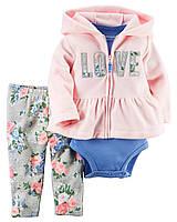 Костюм Картерс для девочки 9, 12, 18, 24 мес. Кардиган флис, штанишки, боди LOVE Carter's (США)
