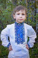"""Детская рубашка для мальчика """"Вышиванка 2"""" (синий)"""