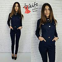 Комбинезон джинсовый женский на пуговицах