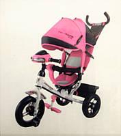 Велосипед детский трехколесный Azimut Trike Crosser One T1 ФАРА (надувные колёса) розовый на белой раме