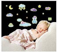 """Виниловая наклейка детская на стену светящаяся """"Мишка"""""""