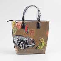 Женская модная сумка тоут коричневая с рисунком