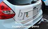 Защитная хром накладка на задний бампер (планка без загиба) Nissan Tiida 4D (ниссан тиида 2007+) седан, фото 2