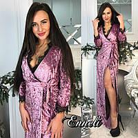 Бархатное платье в пол с гипюром