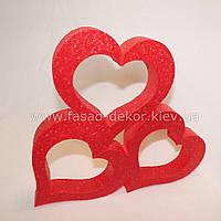 3 Сердца из пенопласта -30 см