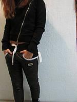 """Женские зимние брюки """"FAHSION"""" (230) черные с белой отделкой код 741а"""