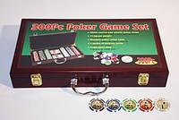 Набор для игры в покер в деревянном кейсе (300 фишек, две колоды карт)