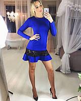 Женское стильное платье с оборкой и вставками гипюра(в расцветках)