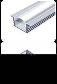 LED-профиль алюминиевый 16х12 мм (с ушками)(без покрытия)