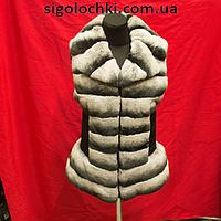 Меховая жилетка из шиншиллы 65 см