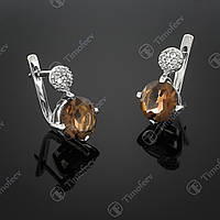 Серебряные серьги с раухтопазом и фианитами. Артикул С-119