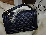 Сумка , Клатч  Chanel Le Boy Шанель Бой  в темно синем цвете Люкс Турция