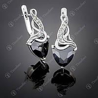 Серебряные серьги с черным цирконием. Артикул С-127