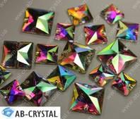 Crystal AB. Пришивные стразы Квадраты 22 мм (Эконом класс)